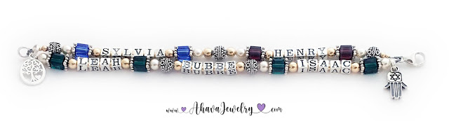 Sylvia, Henry, Leah, Bubbe, Isaac, 2 string Bubbe Birthstone Bracelet