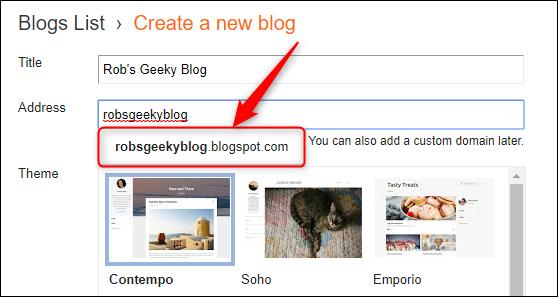 تظهر القائمة المنسدلة عنوان blogspot الكامل.