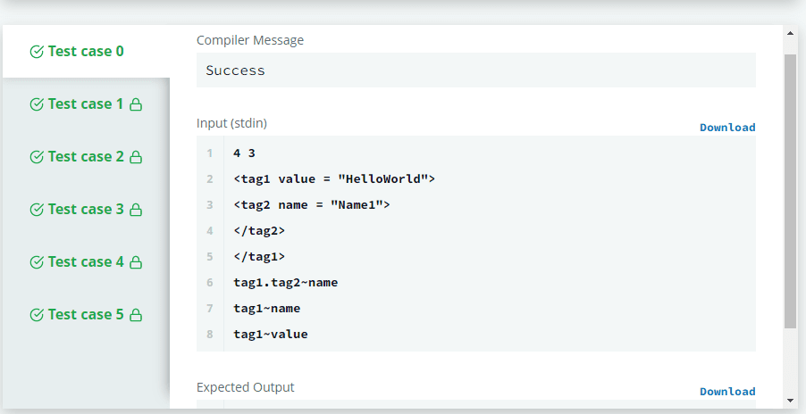 The Output of Hackerrank Attribute Parser C++