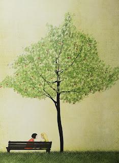 Bild av Maja Lindberg, ett träd med röda frukter och två människor som sitter på en bänk under trädet