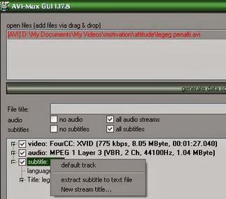 Cara Mengambil Subtitle dari Video Dengan AVI-Mux GUI