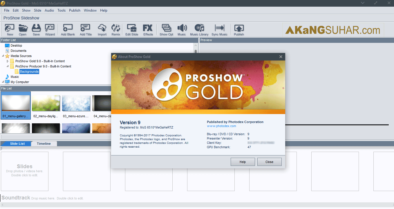Free download Photodex ProShow Gold 9 final latest version terbaru gratis crack serial number patch keygen activation key license code activation 2017 www.akangsuhar.com