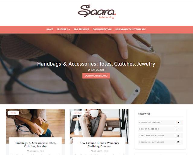 Saara Fashion Blog templates
