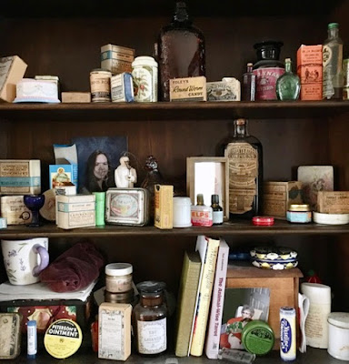 antique herb packages and bottles