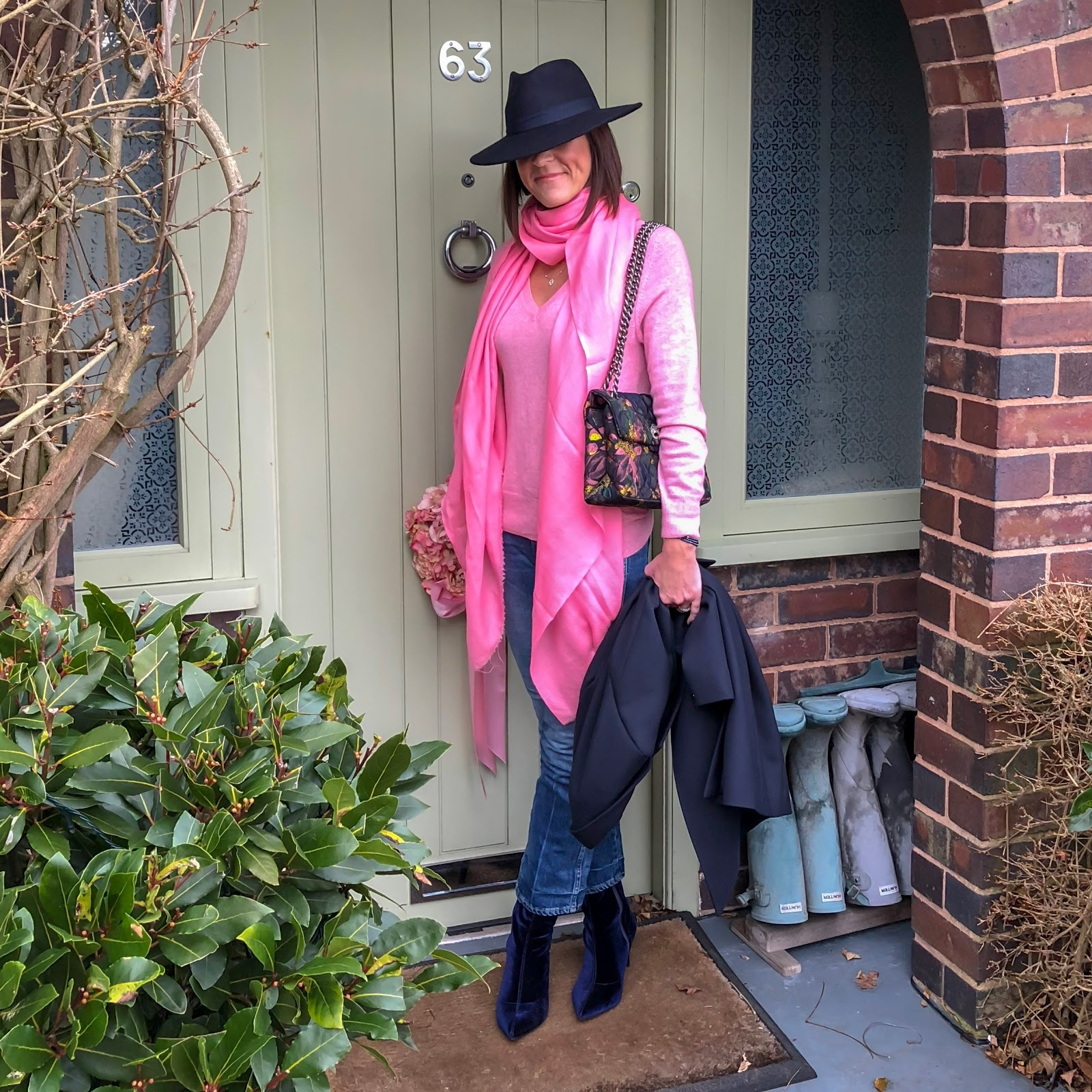 my midlife fashion, kurt geiger fabric kensington bag, marks and spencer pure cashmere v neck jumper, cashmere pashmina, j crew cropped kick flare jeans, marks and spencer stiletto heel side zip ankle boots, hobbs felt fedora hat, tommy hilfiger celeste classic coat