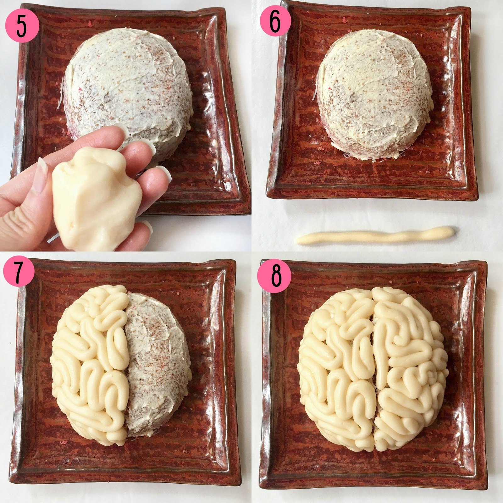 Steps on how to make fondant brain cake for halloween