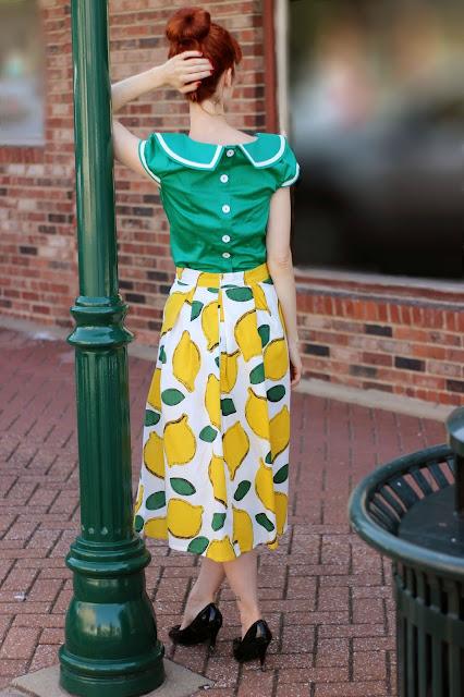 Chic Wish Summer Cool Lemon Print A Line Midi Skirt