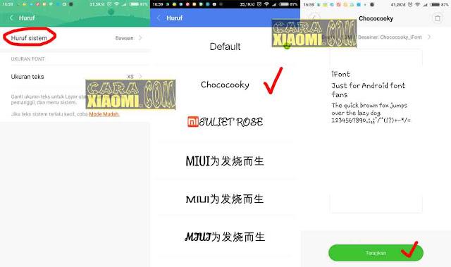 ganti huruf di HP Xiaomi MIUI 8 Un Root