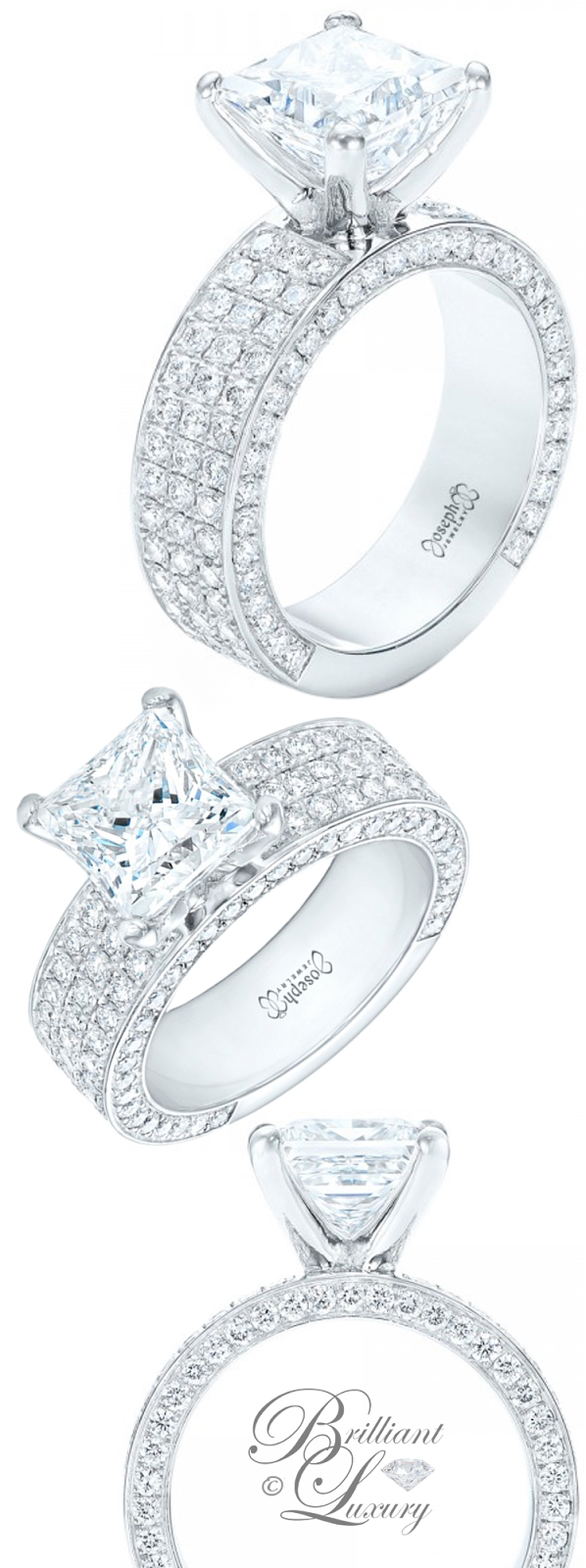 Brilliant Luxury ♦ Joseph Jewelry Pave Diamond Engagement Ring
