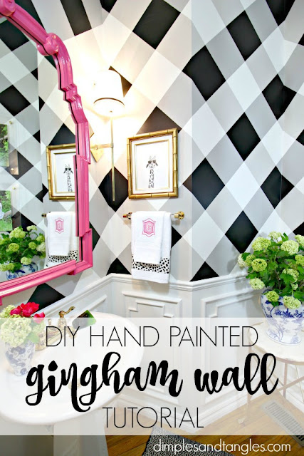 buffalo check wall, gingham wall, how to paint a plaid wall