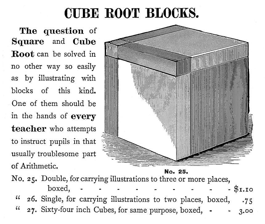 an 1879 teaching aid, cube root block