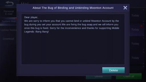 Moonton Account Binding Bugs