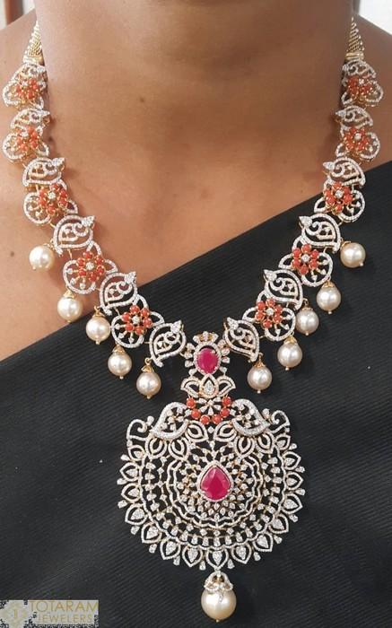 Diamodn Coral Necklace by Kothari Jewellery