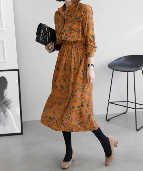 Floral Print Elastic Waist Midi Dress