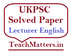 image: UKPSC Solved Paper Lecturer English @ TeachMatters
