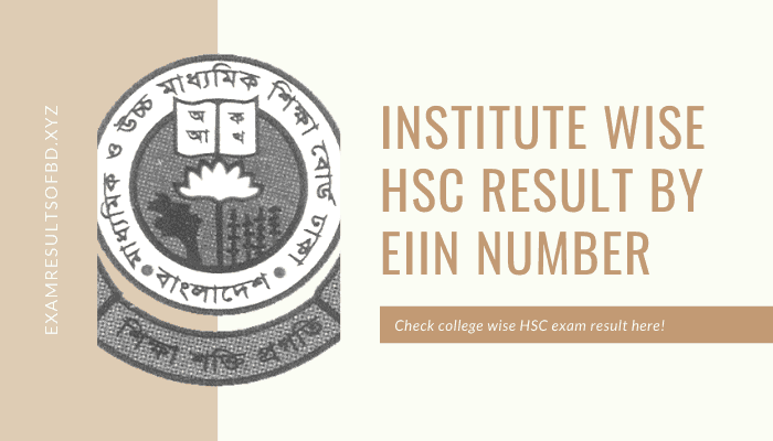 Institute Wise HSC Result 2020, HSC Result 2020 by EIIN Number, Institute Wise HSC Result 2020 by EIIN Number