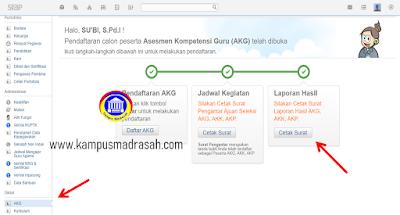 Cetak Rapor Hasil AKG AKK AKP