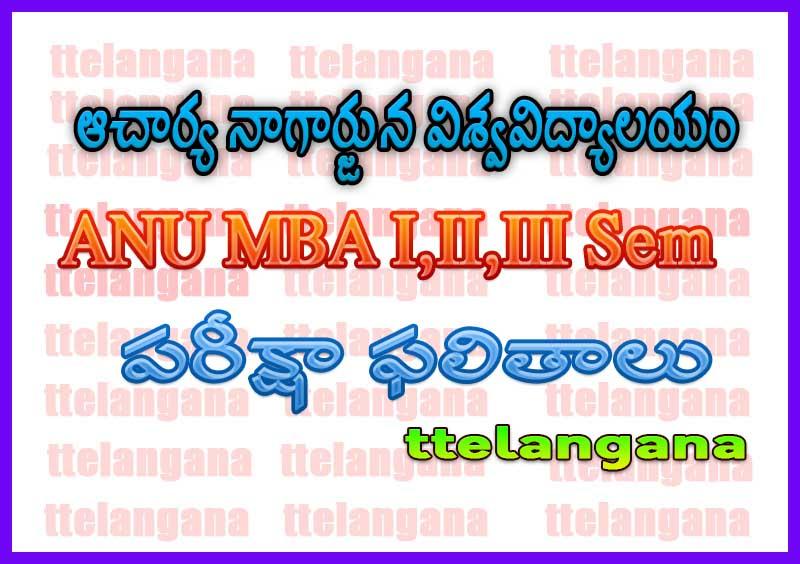 ఆచార్య నాగార్జున విశ్వవిద్యాలయం ANU MBA ఫలితాలు Acharya Nagarjuna University ANU MBA Results