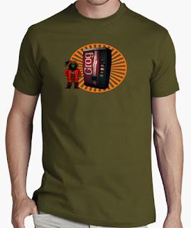 Camisetas Monkey Island Lechuck pixelado y máquina de grog