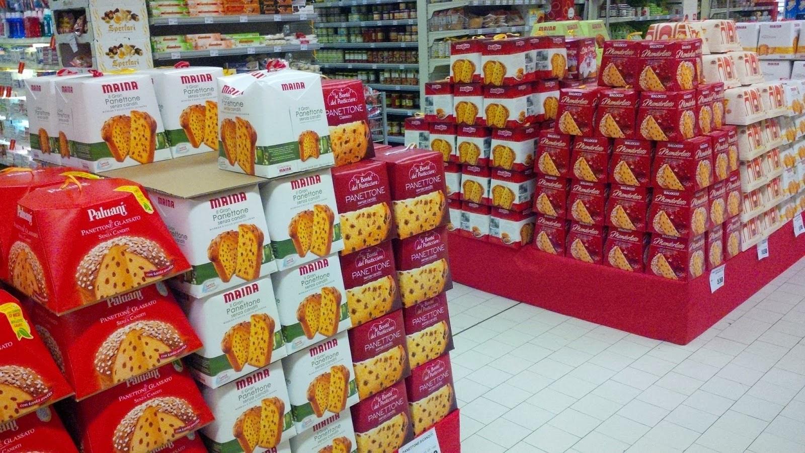 Scrumptious panettone in an Italian supermarket