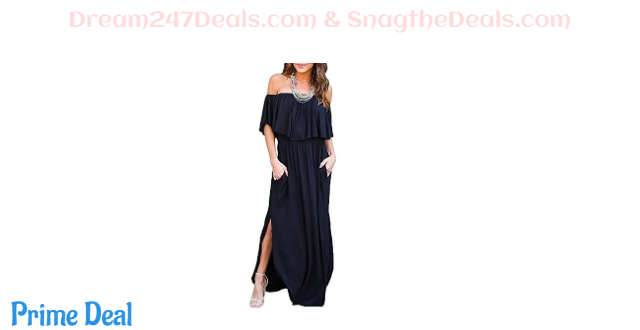 45%OFF MIDOSOO Womens Side Slit Off Shoulder Ruffled Long Maxi Dress with Pockets
