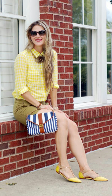 Olive short and yellow gingham