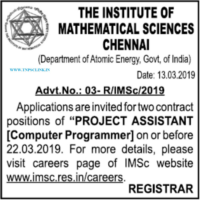 IMSC Chennai Project Assistant Computer Programmer Vacancy 2019