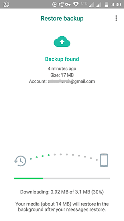 Restoring Whatsapp from Google drive live