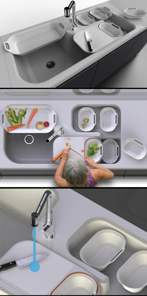 Konsep Dapur Di Bawah Ialah Dengan Sinki Pelbagai Guna Yang Dihasilkan Oleh Wu Chun Ming Ia Memenangi Anugerah Terbaik Red Dot Award