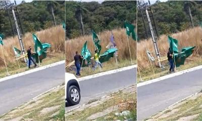 Em Paulista, filho de candidato a vereador é flagrado arrancando bandeiras de Yves Ribeiro