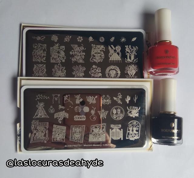 plascas de estampacion de Bornpretty y esmaltes rojo y negro para estampar