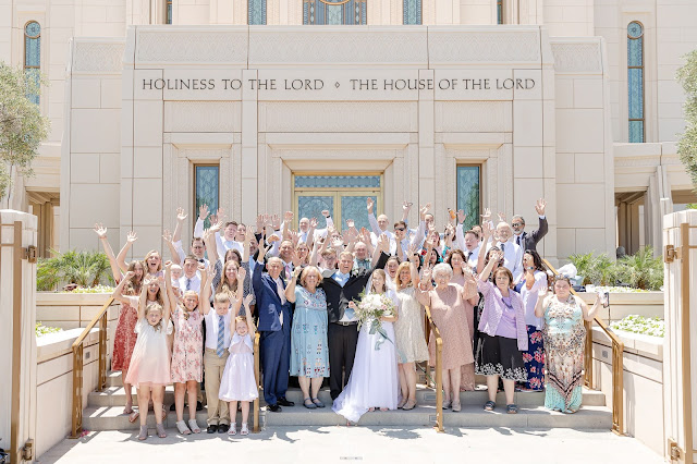Bride and Groom and Families at Gilbert AZ Temple