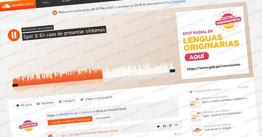Ministerio de Cultura difunde spots en lenguas originarias para prevenir el coronavirus