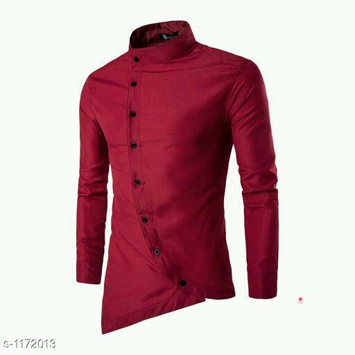 *Myhra Trendy Cotton Blend Slim Fit Solid Shirts *