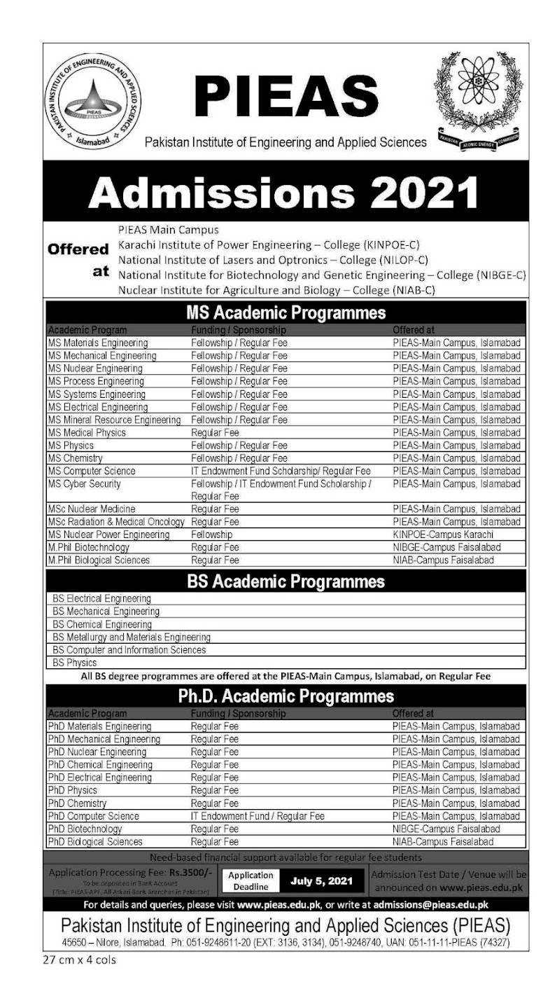 Pakistan Institute of Engineering and Applied Science PIEAS Admissions Open 2021