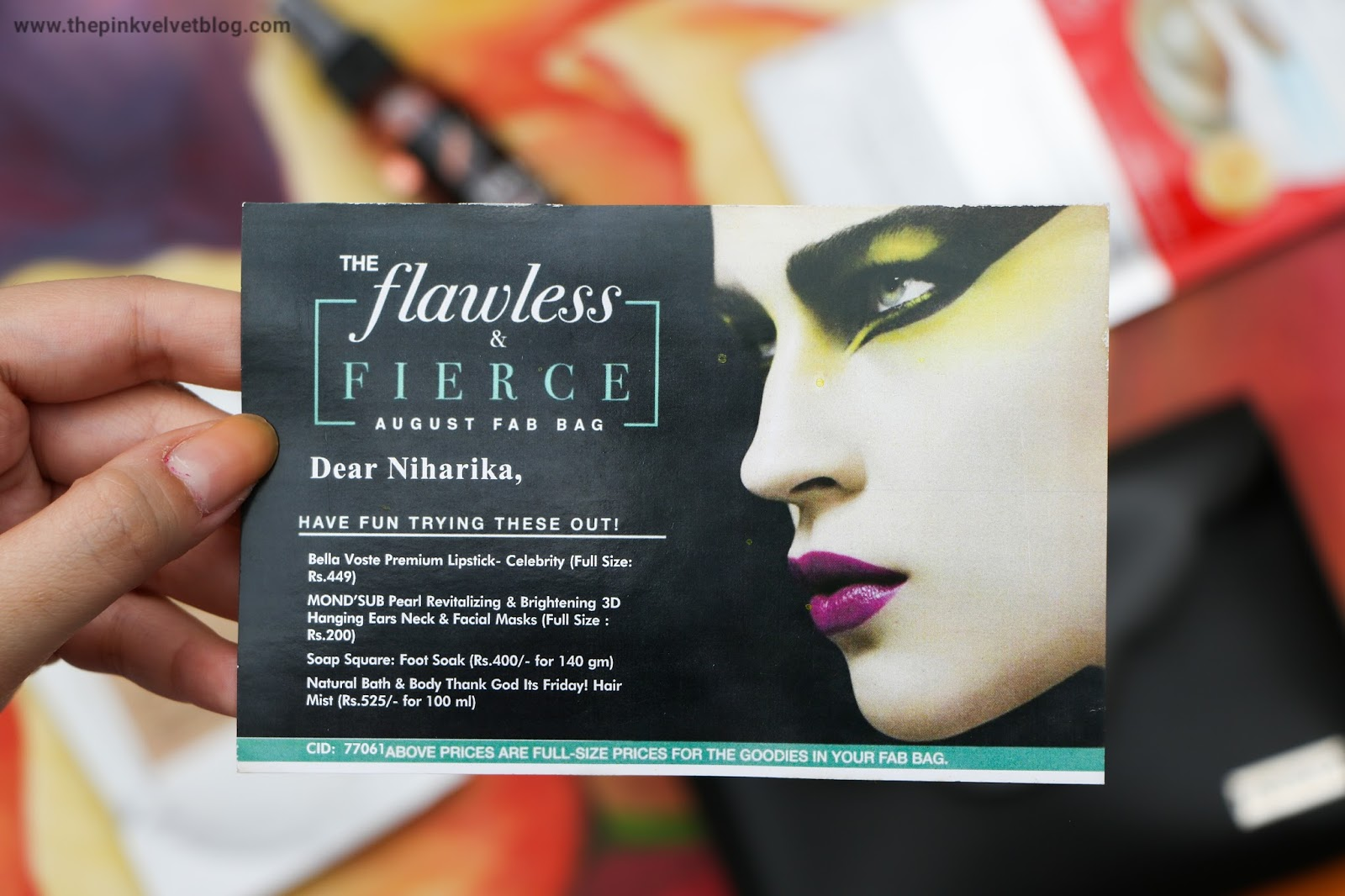 "August ""The Flawless and Fierce"" Fab Bag Products Card"
