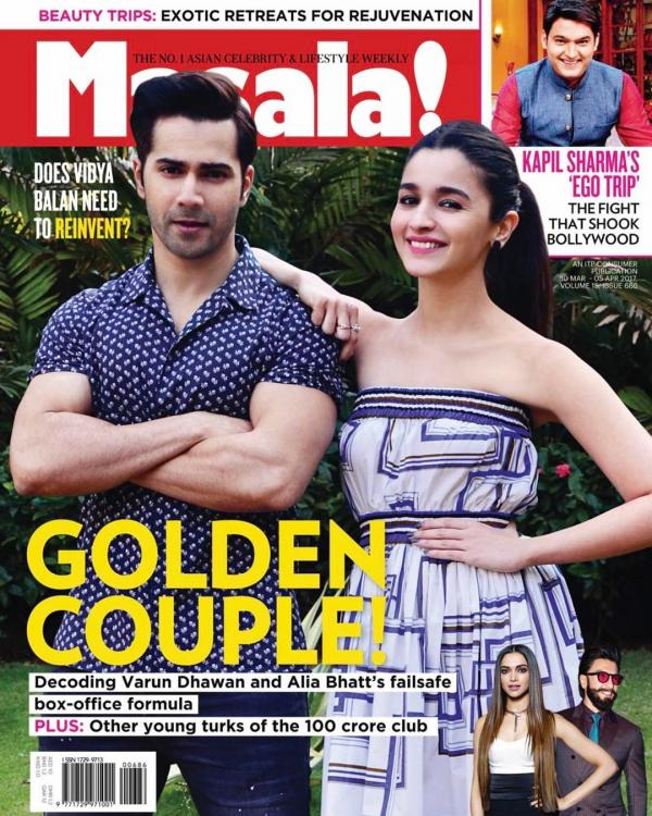 Varun Dhawan and Alia Bhatt on the cover of Masala Magazine April 2017