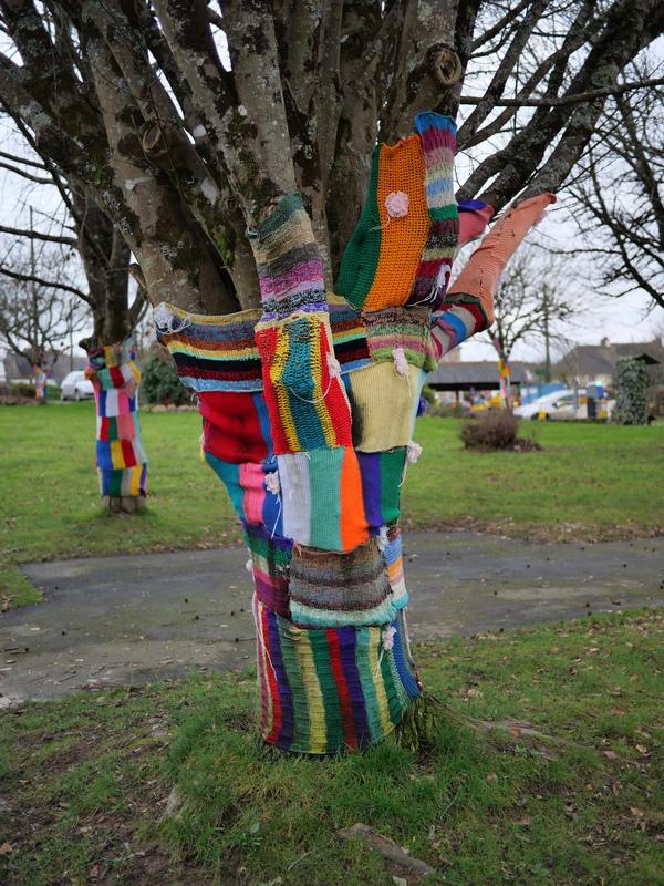 Les arbres sont emmaillotés de carrés de crochet...