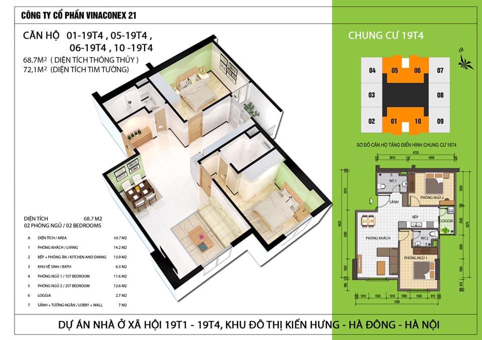 thiết kế căn hộ chung cư 19t4 kiến hưng
