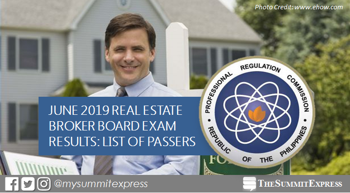 FULL RESULTS: June 2019 Real Estate Broker board exam list of passers