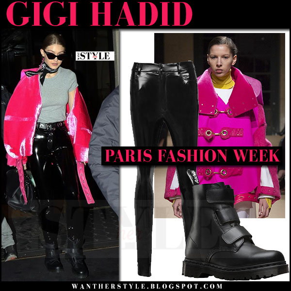 Gigi Hadid in bright pink jacket and black vinyl trousers what she wore paris fashion week street style 2017