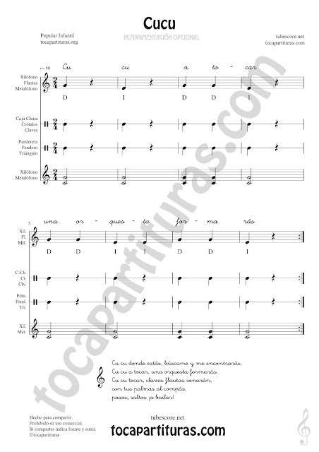 Cucú Partitura Infantil de Pequeña Percusión y Flauta. Metalófono o Xilófono, Carrillón, Caja China, Crótalos, Claves, Pandereta, Panderos, Triángulo... con Acordes de Acompañamiento y letra Easy Sheet Music for Xylophone, Flute & Recorder, Tambourine, Crotales, Triangle, Antique cymbals, Wood blocks, Maraca and Percussions Instruments