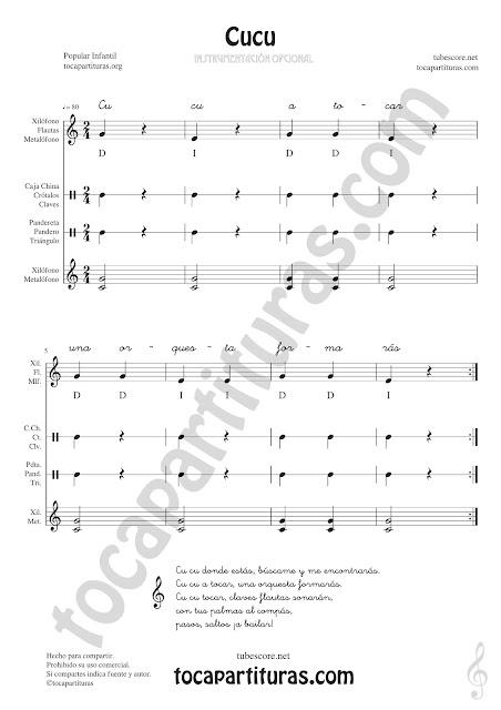 Cucú Partitura Infantil de Pequeña Percusión y Flauta. Metalófono o Xilófono, Carrillón, Caja China, Crótalos, Claves, Pandereta, Panderos, Triángulo... con Acordes de Acompañamiento y letra Easy Sheet Music for Xylophone, Flute & Recorder, Tambourine, Crotales, Triangle, Antique cymbals, Wood blocks, Maraca and Percussions Instruments
