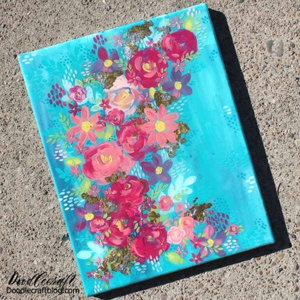 Make a layered piece of art with layers of flowers, textures and sparkle. This painting is canvas with multiple layers of thick, creamy paints and 2 layers of Envirotex Lite High Gloss Resin. There are a variety of textures, shines, depths and finishes on this painting that makes it so intriguing.