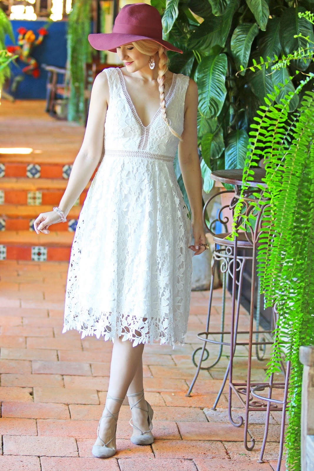 Pretty white lace dress outfit