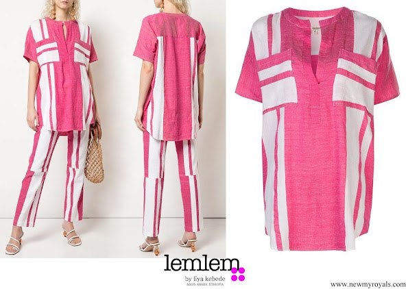 Queen Rania wore a striped voile cotton tunic from LemLem