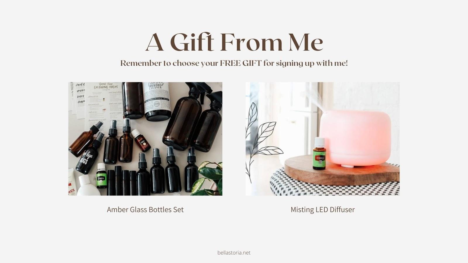 amber glass bottles and led misting diffuser gifts for essential oils when you sign up for a premium starter kit and essential rewards with bellastoria.net
