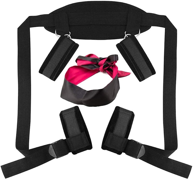 50% Off Nylon Bed Suit Set Alternative Game Products Handcuffs & Neck Ankle Cuffs Bed Restraints Kit Gift
