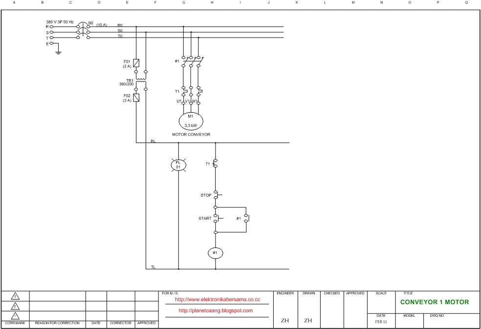 Wiring diagram one motor conveyor | ElectroStudy