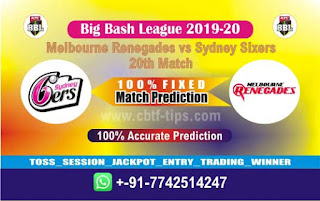 Who will win Today BBL T20, 20th Match Sixers vs Renegades - Cricfrog